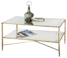 Uttermost Henzler Mirrored Glass Coffee Table in Gold transitional-coffee-tables
