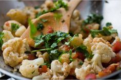 NYT Cooking: Cauliflower lends itself well to curries, and the combination of cauliflower and turmeric, an essential spice in curries, has an added health benefit for men. Studies sited on the World's Indian Cauliflower, How To Cook Cauliflower, Spicy Cauliflower, Cauliflower Recipes, Indian Food Recipes, Vegetarian Recipes, Cooking Recipes, Healthy Recipes, Ethnic Recipes