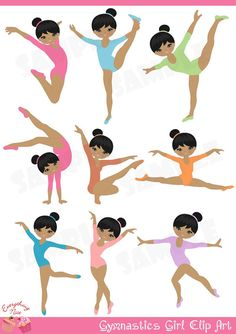 Cute Afro Gymnastics / Gymnast Girl Clip Art perfect for all kinds of creative projects!    All design are digital sales. No items will be