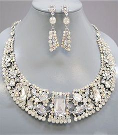 Chunky AB Aurora Borealis Crystal Rhinestone Statement Bib Necklace Earring Set Bridal Prom