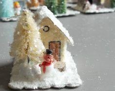 Vintage Putz Style Tiny Miniature Vanilla Frosty Snowman Glitter Sugar House Shabby Christmas Village Ornament Tiny Bottle Brush Tree