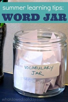 kids vocabulary and summer literacy with a word jar.Increase kids vocabulary and summer literacy with a word jar. Educational Activities, Creative Activities, Summer Slide, Summer Fun, Summer Crafts, Summer School, Kids Crafts, Summer Things, Jars