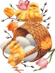 images of tube easter chicks | Old Easter Post Card — (550x731)