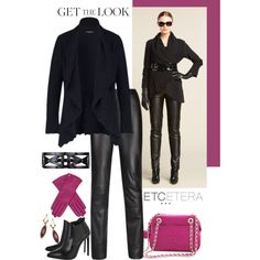 """""""Sleek"""" leather pants, """"Berry"""" mulberry jersey top, """"Darkness"""" cotton/cashmere cardigan. Etcetera, Fall 2013."""