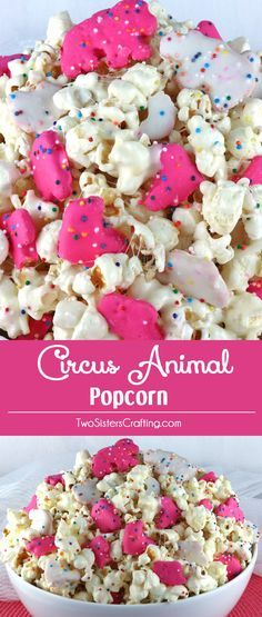 Circus Animal Popcorn - sweet and salty popcorn, covered with marshmallows and yummy Circus Animal Cookies just for fun! A great popcorn treat that is so easy to make! A delicious snack and so very pretty with the sprinkles and the pink and white cookies. Brownie Desserts, Oreo Dessert, Mini Desserts, Easy Desserts, Yummy Snacks, Yummy Treats, Delicious Desserts, Sweet Treats, Snack Recipes
