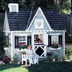 Soo pretty! If i had this as a little girl, i would have played outside all day!  Fairy-Tale Retreat. Lacy trim, a miniature Dutch door, and a pseudo chimney and shutters supply plenty of kid-friendly charm. To help small structures fit into their surroundings, outfit playhouses with colors and details drawn from nearby buildings.