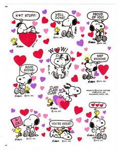 Vintage Snoopy Valentine Sticker Sheet Hallmark Peanuts Woodstock
