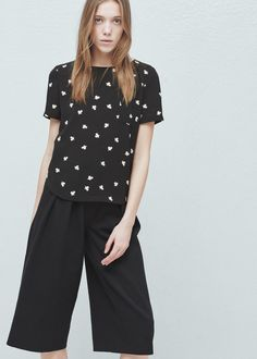 Chest-pocket printed blouse | MANGO