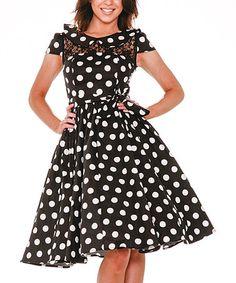 Look what I found on #zulily! Black & White Big Dot Swing Dress - Women & Plus #zulilyfinds