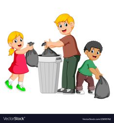 Father and his kids to throw away garbage Vector Image Art Drawings For Kids, Drawing For Kids, Murals For Kids, Art For Kids, Clean India Posters, Save Earth Drawing, Animals Name In English, Flashcards For Kids, Picture Writing Prompts