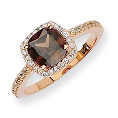 Unique Rose Gold Chocolate Cocoa Brown  Stone Square Halo Antique Circle Round Cut Vintage Silver Engagement Fashion Ring