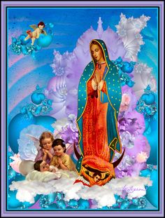 Our lady of Guadalupe with angelitos Timothy Helgeson Mary Tattoo, Hispanic Culture, Blessed Mother Mary, Religious Art, Virgin Mary, Our Lady, Chicano, Phone Backgrounds, Amalfi