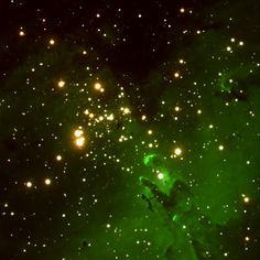 The Eagle Nebula is a vast stellar nursery located some 7,000 light years from our solar system. The nebula is a region of intense star formation that is in the process of forming a star cluster.This cloud of gas and dust is located within the constellation of Serpens. via Palomar Observatory