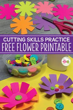 How to Improve Cutting Skills with a Free Flower Printable - Sensory - Kids will love these free flower theme printables. The flower activities will help them improve the - Cutting Activities, Art Therapy Activities, Spring Activities, Flower Activities For Kids, Projects For Kids, Craft Projects, Crafts For Kids, Craft Ideas, Art Crafts