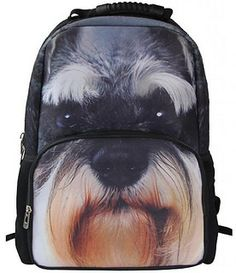 Animal Face Miniature Schnauzer Backpack by Consumer Champ