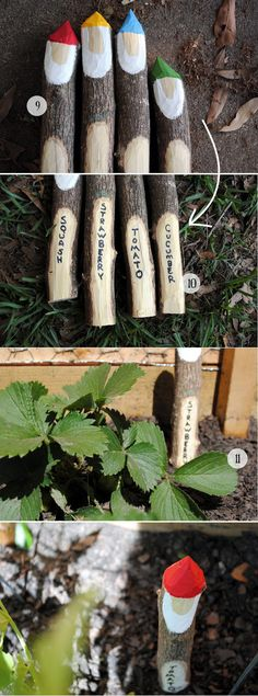 Lawn Gnome Markers Made from Twigs | 26 DIY Plant Markers For Your SpringtimeGarden