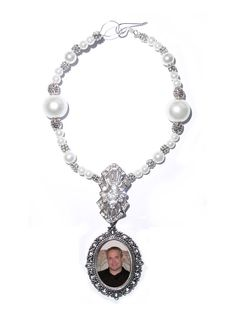 Wedding Bouquet Memorial Photo Oval Metal Charm Crystal Gems Pearls Silver Victorian Diamond Tibetan Beads - FREE SHIPPING by StainedGlassAddie, $24.00