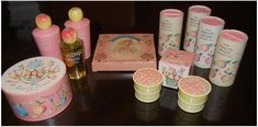 Pretty Peach Fragrance for girls, by Avon, I had the soap on the rope as well. It was the body lotion, the foam/bubble bath, the talc and the powder puff round box! KMW