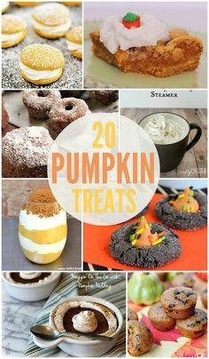 20 Pumpkin Treat Recipes - So many delicious pumpkin that would be great for Thanksgiving recipes! { lilluna.com }