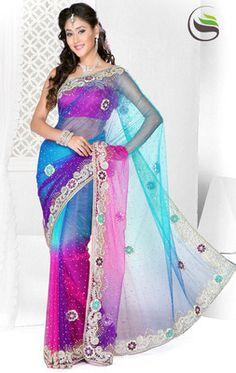 Indian Bollywood Designer Exclusive Stone Work Hand Work Wedding Sari Saree 2013