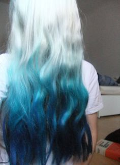 Pastel blue ombre dip dyed hair