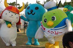 ひこにゃん、クー、トリピー Hikonyan, Qoo and Toripy