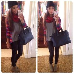 Black hand bag scarf grey blouse with grey boots
