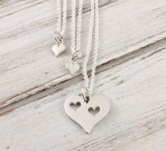 Heart in my heart  Mother and 2 daughter necklace by woobiebeans