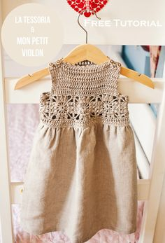 Free tutorial crochet dress pattern, crochet / fabric dress, granny square dress pattern, monpetitviolon
