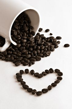 Coffee cup, coffee beans and heart by Gert Lavsen on 500px