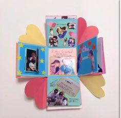 韓国で流行ったプレゼントボックス♡大好きな人にはどきどきワクワク、なサプライズを。|MERY [メリー] Pen Pal Letters, Surprise Box, Exploding Boxes, Explosion Box, Diy Cards, Mini Albums, Bookmarks, Diy And Crafts, Presents