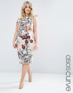 ASOS Curve | ASOS CURVE Wiggle Dress With Ruffle in Floral Print at ASOS
