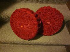 Pair vintage red crushed velvet round sofa cushions, sofa throw pillows by outoftheatticshop on Etsy