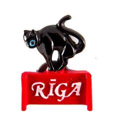 Resin Fridge Magnet: Latvia. Black Cat of Riga