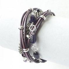 Amethyst Sterling Silver Purple Leather Wrap Bracelet by connectionsbymaya, $42.00 #amethystsilverbracelet #purpleleatherbohowrap #karenhilltribefinesilverbracelet #trendypurplewrapbracelet #spring2014bracelettrends
