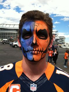 Denver Broncos skull face painting for the big game!