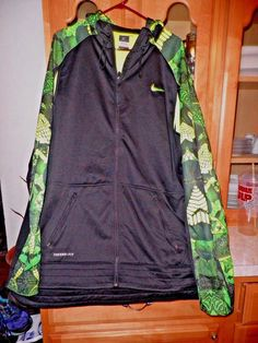 Nike Kobe Black and Lime Green Perforated Thermal -Fit Nike Jacket XXL #NikeKobeThermalFIt #CoatsJackets