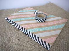 DIY striped washi tape journal