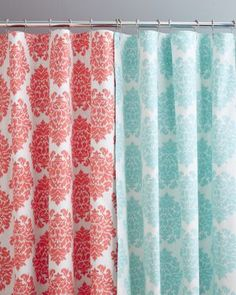 red and teal shower curtain. I think the red version would look smashing in my grey bath  Ikat Medallion Teal CurtainsBathroom http www modularhomepartsandaccessories com