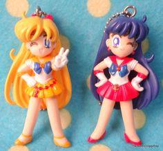 2004 : Japanese Anime / Shojo Manga : Bandai Gashapon Toys : 10th Anniversary : Sailor Moon World : PGSM Toy Figure Straps : Sailor Venus & Sailor Mars