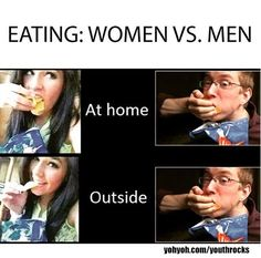 Funny pictures about When Women Eat Vs. When Men Eat. Oh, and cool pics about When Women Eat Vs. When Men Eat. Also, When Women Eat Vs. When Men Eat photos. Best Funny Images, Funny Pictures, 2016 Pictures, Memes Humor, Chuck Norris Funny, Mexican Jokes, Birthday Images Funny, Bleach Funny, Boys Vs Girls