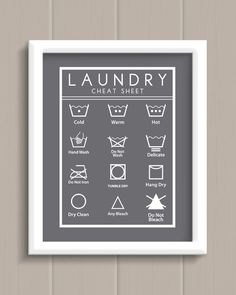Laundry Room Cheat Sheet Art Print - 5 colors to choose from!