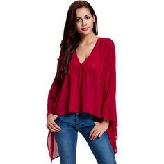 Elegant Women Long Sleeve V Neck Irregular Chiffon Shirts (29 AUD) ❤ liked on Polyvore featuring tops, red, chiffon shirt, collared shirt, red long sleeve top, v-neck shirt and v neck tops