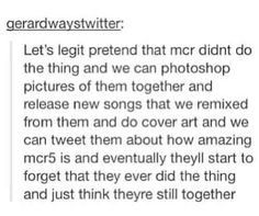 We don't talk about mcr doing the thing...