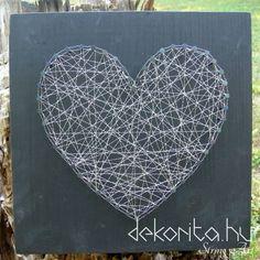 Silver wire heart string art