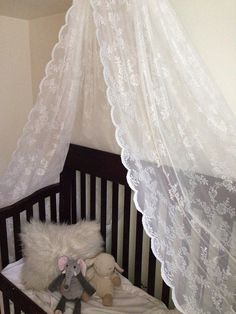 Lace canopy for baby girl crib nursery or bed or photo prop Tulle canopy Organza Canopy & I am going to attempt to do this in new babyu0027s room. Lacy curtain ...