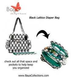 Black Lattice Diaper Bag  #bayacollections  http://bayacollections.com/index.php?route=product/product&path=81_91&product_id=162