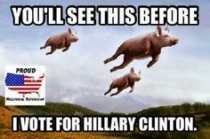 When pigs fly, and I still won't vote for her! NEVER!