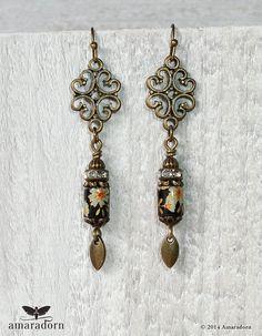 Japanese Tensha Decal Earrings Black and Bronze by Amaradorn