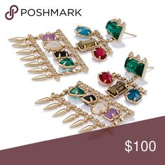 """New! Never worn Kendra Scott Winter Collection With the Emmylou Statement Earrings in Brass, colorful stones dangle in a variety of shapes to create a chandelier silhouette certain to turn heads.  • Plated Brass • Size: 2.6""""L x 1.73""""W on post • Material: aqua apatite, dark amethyst, berry glass, emerald glass, pyrite, clear rock crystal, blue goldstone Kendra Scott Jewelry Earrings"""